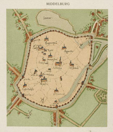 Afbeelding #001 voor het verhaal Gezicht op Middelburg, of: hoe waarheidsgetrouw is een schilderij uit 1550 eigenlijk?