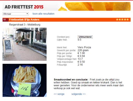Afbeelding #000 voor het verhaal B'tje Anders Middelburg derde in nationale friettest AD