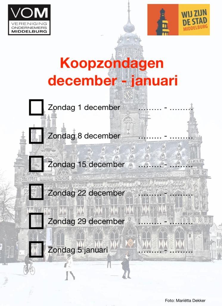 Afbeelding #000 voor het verhaal Drie extra koopzondagen in Middelburg, in december!