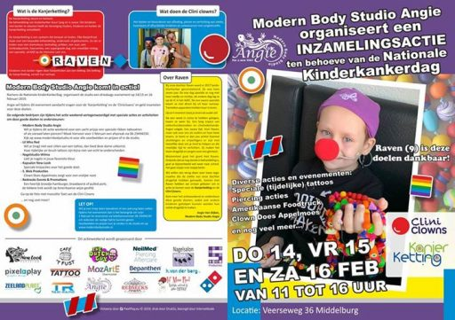 Afbeelding #000 voor het verhaal Evenement:Modern Body Studio Angie in actie voor kanjerketting & Cliniclowns.