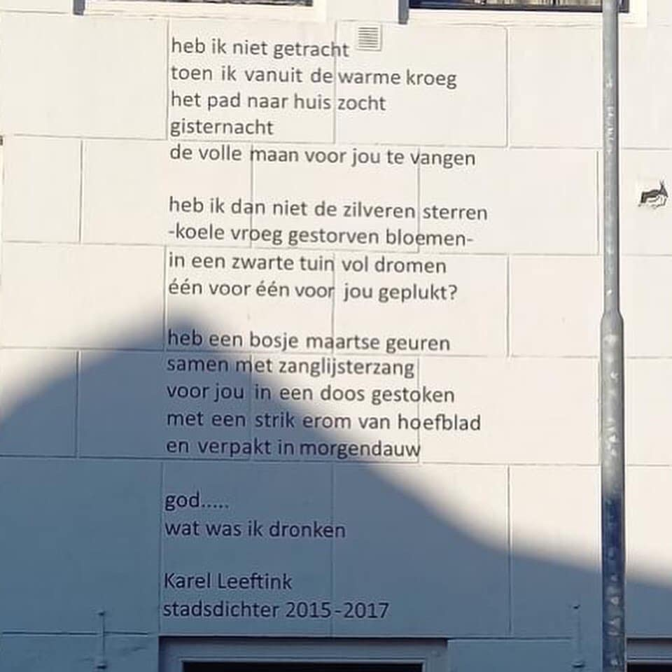 Afbeelding #000 voor het verhaal Heb ik niet getracht...Karel Leeftink schrijft een nieuw muurdicht voor Café Le Penseur