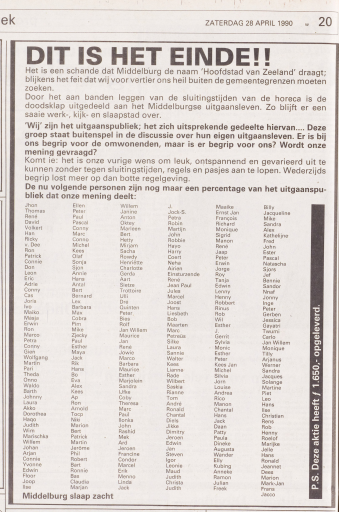 Afbeelding #000 voor het verhaal Middelburg slaap zacht: 1990 als kantelpunt voor de lokale horeca