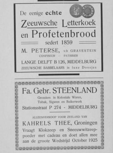 Afbeelding #001 voor het verhaal Middelburgse ondernemers adverteren, 1925