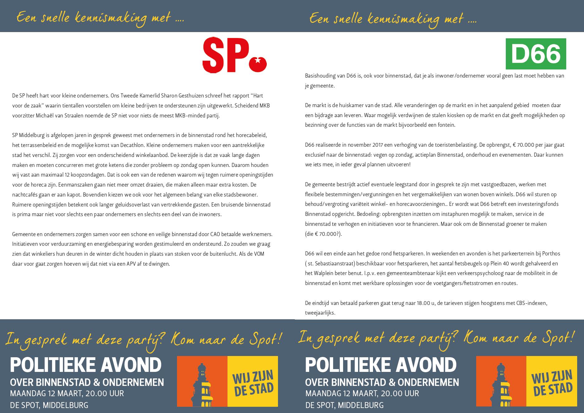 Afbeelding #001 voor het verhaal Politieke avond 12 maart Binnenstad en ondernemen: meer standpunten