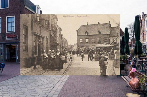 Afbeelding #000 voor het verhaal Pottenmarkt Middelburg, toen en nu.