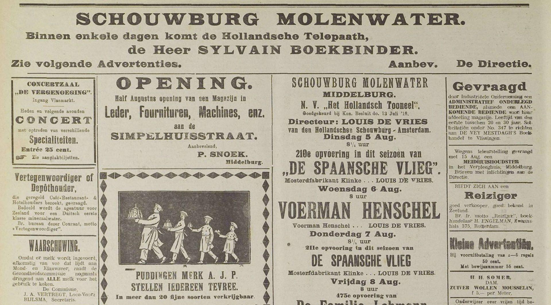 Afbeelding #001 voor het verhaal Sylvain Boekbinder begoochelt Middelburg, 1919