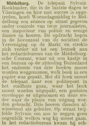 Afbeelding #002 voor het verhaal Sylvain Boekbinder begoochelt Middelburg, 1919