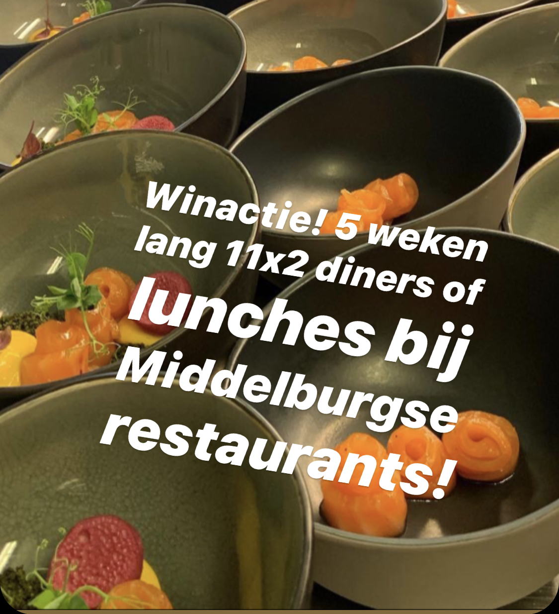 Afbeelding #000 voor het verhaal Winactie: 5 weken 11x2 diners of lunches bij Middelburgse restaurants