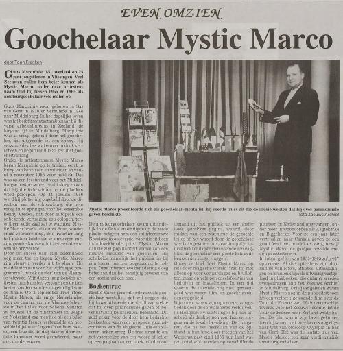 Afbeelding #006 voor het verhaal Mystic Marco, de goochelende cultheld