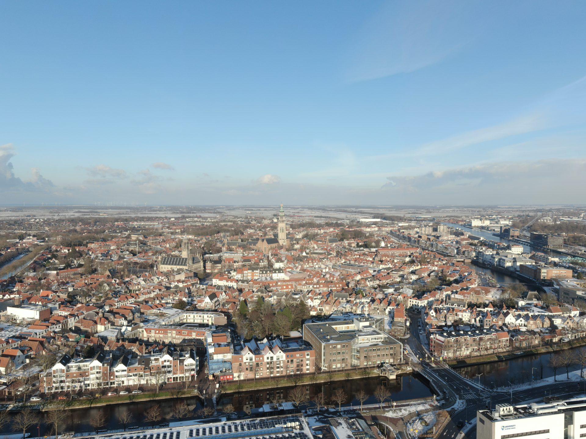 Afbeelding #000 voor het verhaal Ice Flight: Middelburg van boven, 10 februari 2021