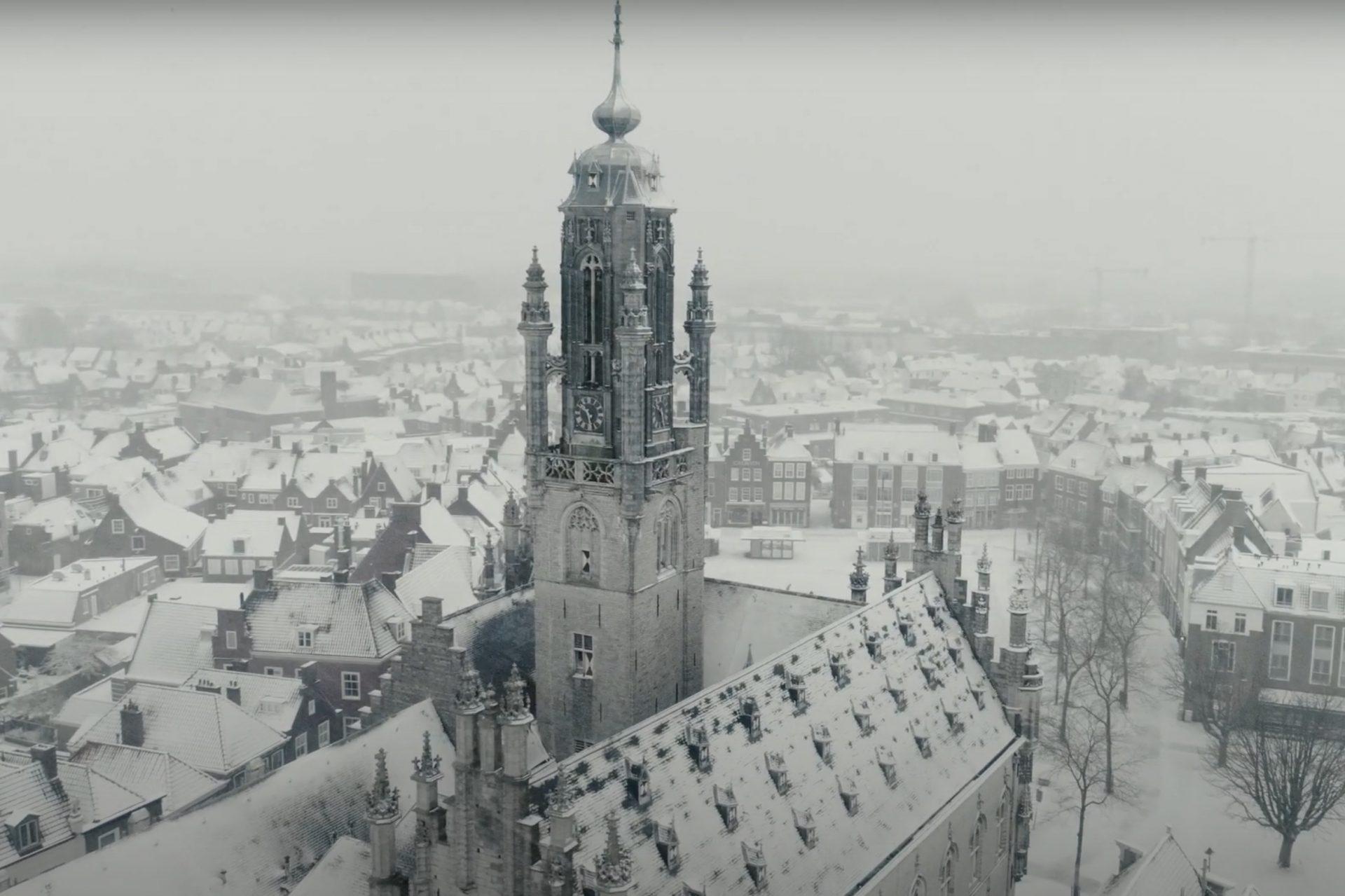 Afbeelding #000 voor het verhaal Middelburg, snow and lockdown: a view from above