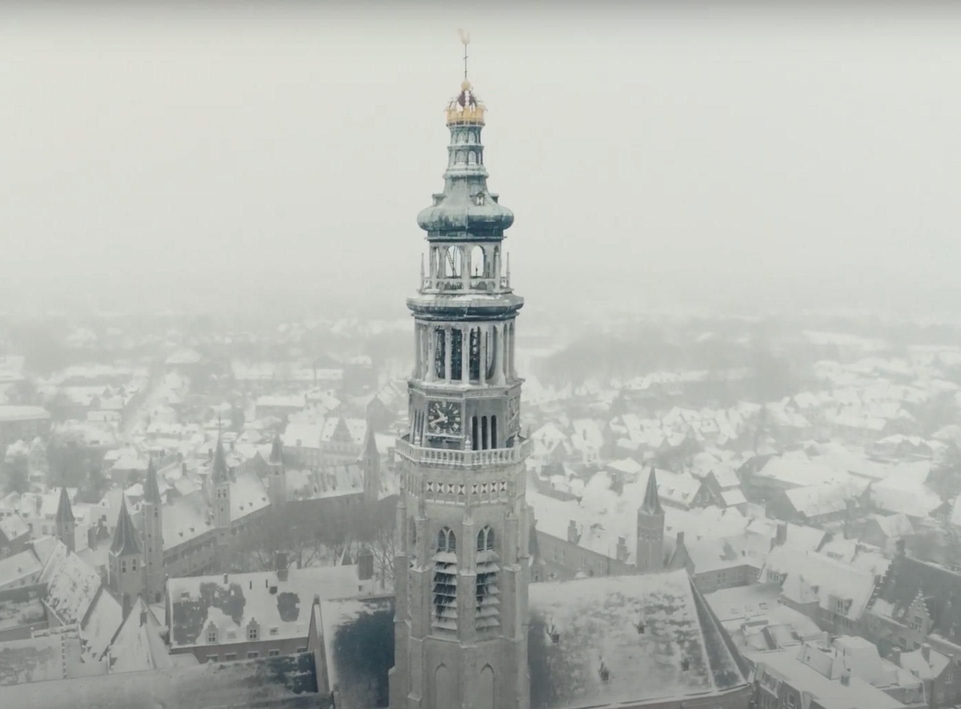 Afbeelding #001 voor het verhaal Middelburg, snow and lockdown: a view from above